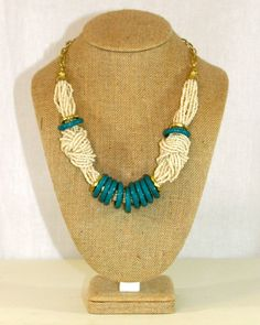 Teal Beaded Knot Necklace by Violet Clover