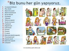 Learn Turkish Language, Arabic Language, Learn A New Language, Learn English Kid, Turkish Lessons, Learning Arabic, Daily Activities, English Vocabulary, Turkey