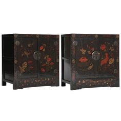 Antique Chinoiserie Pr Painted Lacquer Cabinets /Chests Seasons Floral Paintings   From a unique collection of antique and modern furniture at https://www.1stdibs.com/furniture/asian-art-furniture/furniture/
