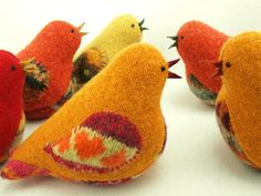 """Bird Ornament Eco Friendly Home Decor Bird in Harvest Colors Yellow and Orange Bird Felted Wool  Lamb Wool Stuffing Up Cycled Height 4"""""""