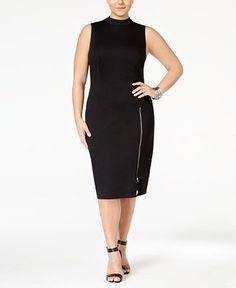 Love Squared Plus Size High-Neck Zipper Bodycon Dress - Dresses - Plus Sizes - Macy's