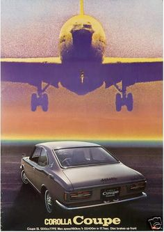 TOYOTA COROLLA COUPE Japanese advertising poster (1976).