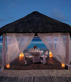 Romantic dinner for two on beach!! Love it!!