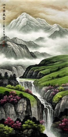 pics: Chinese Landscape Painting by Liu Zhenghui. You can divide it three part to enjoy the painting. The upper is the distant scenery. The central is medium shot and the lower is your close-range. Chinese Landscape Painting, Japanese Painting, Chinese Painting, Chinese Art, Landscape Art, Japanese Art, Landscape Paintings, Waterfall Paintings, Beautiful Paintings