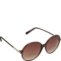 Oversized Round Frame Sunglasses Brown