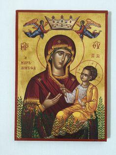 Our Lady Theotokos - Mother Of God - handmade orthodox byzantine icon Byzantine Icons, Orthodox Icons, Our Lady, Madonna, Renaissance, Mona Lisa, Princess Zelda, Christian, Etsy Shop