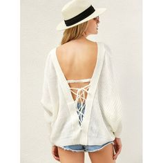 Wholesale V Neck Back Lace Up Sweater In White | TrendsGal.com