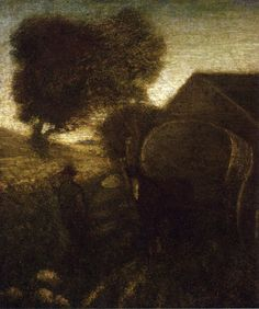 """The Farmyard,"" Albert Pinkham Ryder, oil on canvas, 12.75 x 10.75"", private collection."