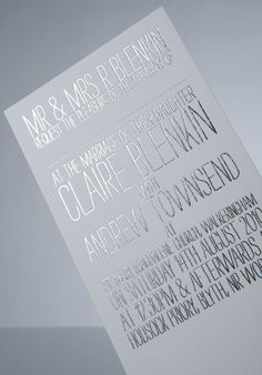 silver + white / Wedding Invitation by Andrew Townsend, via Behance. Simple but pretty