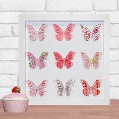 Framed Butterfly Paper Art Home Decor in your by DorisDearest Butterflies Flying, Paper Butterflies, Butterfly Frame, Butterfly Wings, 3d Paper Art, Personalised Frames, Box Frames, New Baby Products, Artworks