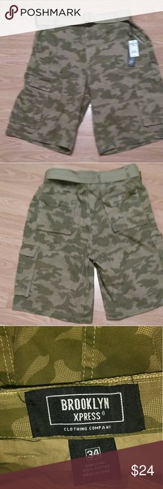 BROOKLYN XPRESS Camo Cargo Bermuda? Shorts Brand new with tags. Comes with belt. BROOKLYN XPRESS Shorts