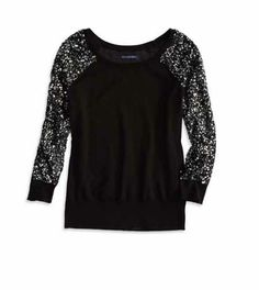 AE Sequin Sleeve Sweater @ American Eagle size S