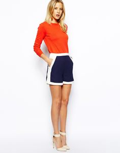 ASOS Shorts In Colour Block. In love with this outfit. Love these colours together ❤️