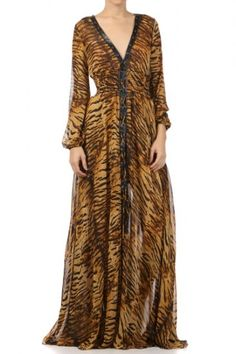 100 percent Polyester 1S/1M/1L Per Pack Brown (shown) This HIGH QUALITY dress is BEAUTIFUL!! Great animal print, this sheer dress with attached lining, v-neckline, faux leather placket, smocked waist, and crisscross trim detailing is hand washable, and fits true to size.