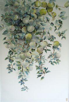 батик, курсы батика, шелк, роспись по шелку, silk painting, batik, hand painted silk, silk painting workshop, яблоки, яблоня