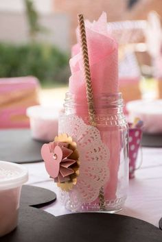 Mason jars at a Minnie Mouse birthday party! See more party ideas at CatchMyParty.com!