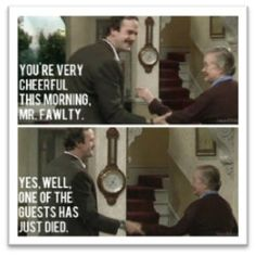 A Guide to British Humor - Study in England - Best Humor Funny Study In England, Fawlty Towers, British Humor, Reaction Face, Good Humor, How To Get Away, Travel Tips, Cheer, Comedy