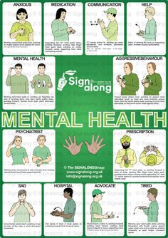 Signalong Signs for Mental Health - Freebie Friday poster - not available to purchase. Sign Language Chart, Sign Language Words, Sign Language Alphabet, Sign Language Interpreter, Learn Sign Language, British Sign Language, Baby Sign Language, Libra, Learn Bsl