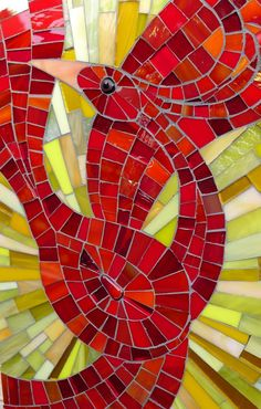 Mosaic Art Panel by Jennifer Kuhns, depicting a firebird, inspired by a folk art tale from Russia.