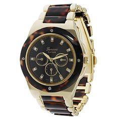 GP by Brinley Co. Women's Rhinestone Decorative Chronograph Tortoise Goldtone Link Watch GP Designs. $24.99. Save 48%!