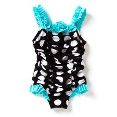 Toddler Polka Dot Ruched Swimsuit Rosette Trim - Absorba Infant Toddler Swim - Events
