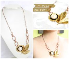 Free Fallin' / one of a kind / necklace / shop local / handmade / canadian / upcycled / vintage / Hattitude / statement / jewelry / $48.00 / Hattie Dunstan