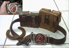 Hellboy Hellboy belt with full metal BPRD buckle, old rusted horse shoe, and US amry leather pouches replica movie prop Game Props, Movie Props, Hellboy Costume, Strange Things Are Happening, Fantasy Model, Cosplay Makeup, Leather Pouch, Metal Buckles, Larp