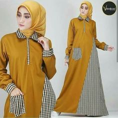 Trendy Plaid and Plain Matching Abaya Fashion for Muslims – Girls Hijab Style & Hijab Fashion Ideas Modern Hijab Fashion, Muslim Women Fashion, Batik Fashion, Arab Fashion, Dress Design Sketches, Muslim Dress, Stylish Dress Designs, Mode Hijab, Women's Fashion Dresses