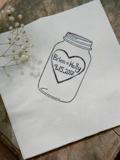 LOVE LOVE LOVE! Rustic Personalized White Mason Jar Napkins Wedding Dinner Napkins with Large Heart Couples Names and Wedding Date- set of 50