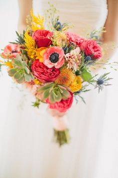 a rainbow of brights. From garden roses and anemones right through to succulents   Photography By / thewhywelove.com, Floral Design By / juliannedesign.tumblr.com
