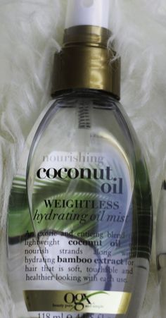 Coconut Oil Mist OGX. Nourishing Coconut Milk Anti Breakage Serum.OGX Coconut Oil Anti Breakage Serum PROS 1.I love everything about this hair serum, it smells great just like all the other products and it has reduced my hair breakage. 2.I use it on my daughter's hair as well and it works wonders on her hair too. 3.It is great to use before styling with a hair straightener or hair dryer. 4.It is great for dry, frizzy hair, oils the scalp and puts the hair in place. CONS None.