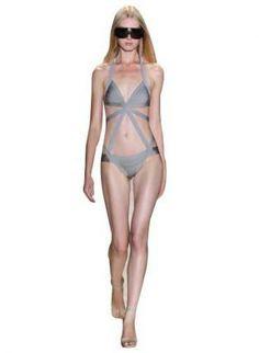Gray Swimsuit - Bqueen Gray One-piece Bandage Swimwear $79