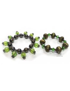 Handmade Green Bracelet Combo with Swirl and Floral Designs  Shop Here - http://ealpha.com/women/green-bracelet-combo/750#.VABXvdhMK_I