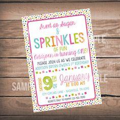 Sprinkles of Fun Birthday Invitation, First Birthday Invitation, Sprinkles First Birthday Party by WeAreHavingaParty on Etsy https://www.etsy.com/listing/261624365/sprinkles-of-fun-birthday-invitation