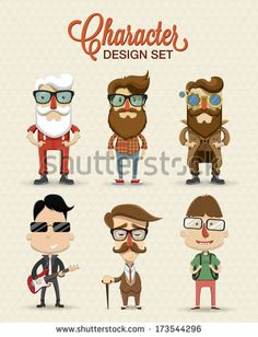 Different type of character illustration - stock vector