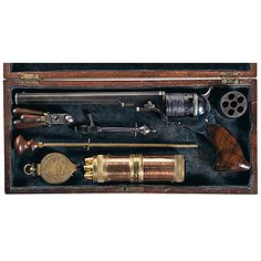 Silver-Banded, Factory Cased Colt No. 5 Squareback Model Texas Paterson Revolver