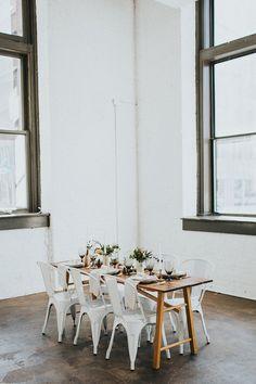 modern loft weddings - photo by Jacoby Photo and Design http://ruffledblog.com/modern-romantic-loft-wedding-inspiration