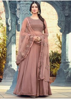 Muave Embroidered Georgette Anarkali
