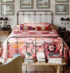 The bedsheets make a great contrast with the furniture and artwork of this bedroom! #eclectic