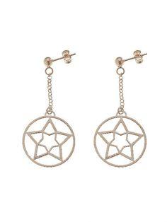 ORECCHINI CON STELLA  Orecchini in argento 925 bagnati in oro rosa con pendenti a forma di stella. Diametro pendente 25 mm.  Prices: $56.66