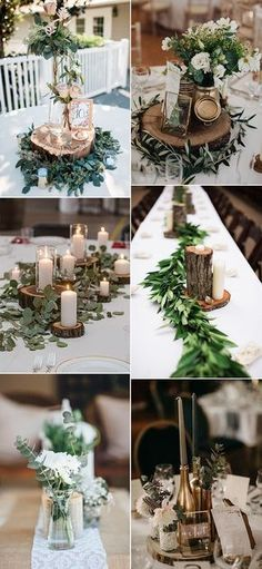 chic greenery wedding centerpieces with tree stumps for 2019