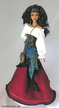 * TATIANA * Ooak Exotic GYPSY Barbie by NIKA Designs - Raven Hair #steffie