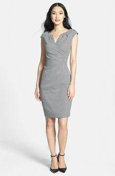Adrianna Papell Side Pleat Split Neck Sheath Dress available at #Nordstrom