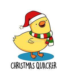 'Christmas Quacker Christmas Animal Pun' Sticker by punnybone