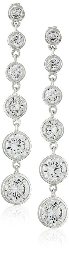 Sterling Silver Multi Round Cubic Zirconia Linear Drop Post Earrings (6.6 cttw) ** Click image for more details.