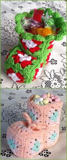 Crochet Christmas Bootie Can Cover Free Pattern - Crochet Christmas Mason Jar Cozy Free Patterns