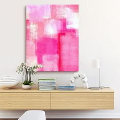 Modern pink abstract painting with simple lines and texture. Running Late Wall Art from: The Bigstock Collection from Great BIG Canvas. Discover stunning abstract canvas art from Great BIG Canvas. Pink Abstract, Abstract Art, Big Wall Art, Pink Painting, Photo To Art, Hanging Art, Contemporary Art, Art Paintings, Big Canvas