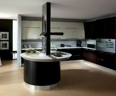 Kitchen Black And White Laminated Wooden Kitchen Island Brown Cabinet Stainless Steel Faucet Single Bowl Sink Beige Floor Frame Pictures Attractive Rounded Kitchen Island Design Collection