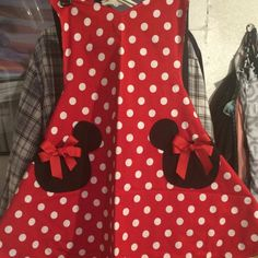 Items similar to Minnie Mouse Apron, Party Apron, Womens Apron that is Reversible on Etsy Minnie Mouse, Wine Christmas Gifts, Waitress Apron, Teacher Apron, Cute Aprons, Mickey Head, Apron Pockets, Party Props, Hostess Gifts