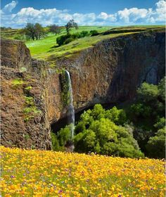 California's Elusive Phantom Falls, north of Sacramento in the North Table Mountain Ecological Reserve. The waterfall is 164 feet high and runs off the edge of Coal Canyon, in front of a grotto.